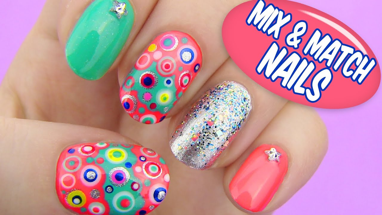 Mix and match nails dotted nail art youtube Diy nail art ideas youtube