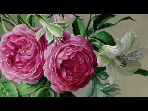 Flowers oil paintings youtube for How to paint flowers with oil paint