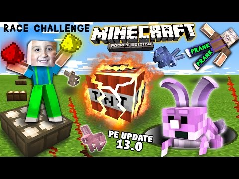 The TNT Trapped Rabbit RedStone Glow Dust Race Challenge w/ Prank (FGTEEV Minecraft PE 0.13 Update)