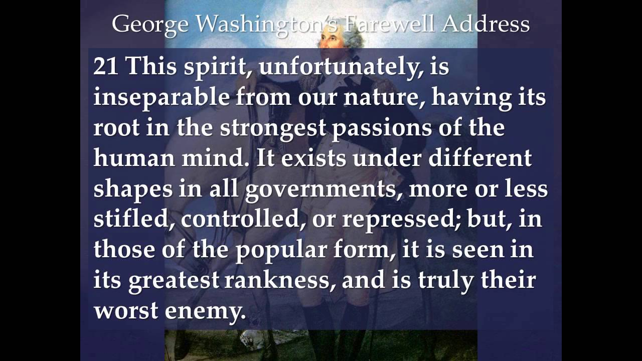 essay on george washingtons farewell address