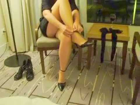 wife fishnet stockings legs spread chair