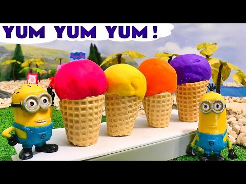 Minions Play Doh Peppa Pig Ice Cream Funny Toys Thomas The Train Surprise Eggs Disney Cars
