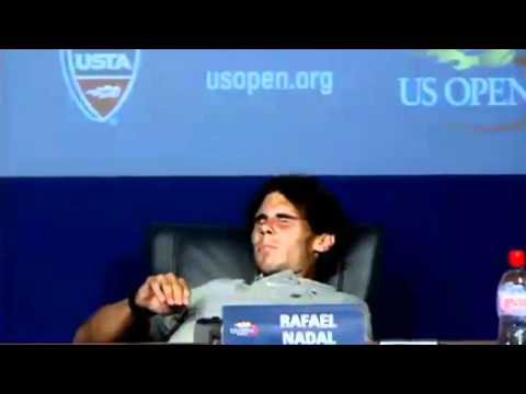 Rafael Nadal collapses due to cramp during Us Open Press Conference (HD)
