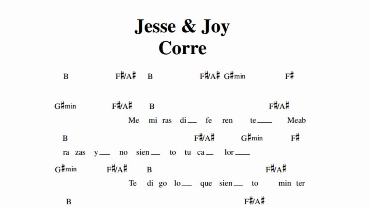 Jesse & Joy - Corre (Chords) - Ultimate-Guitar.Com