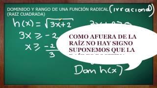 DOMINIO Y RANGO FUNCION IRRACIONAL (RAÍZ CUADRADA CUBICA