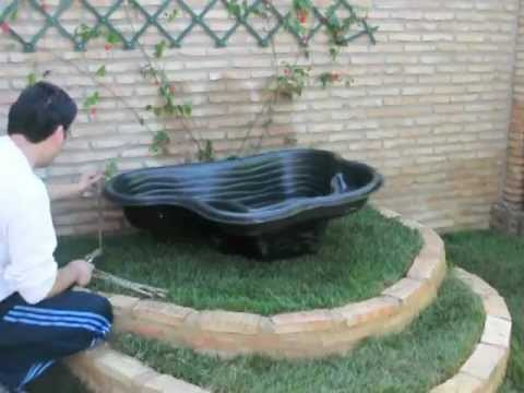 Instalacion estanque jardin youtube for Estanques caseros