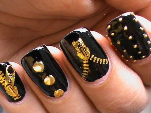 Dripping paint nail art design colorful tutorial nail polish garage chic biker studded nails art designs zip nail water decals how to diy nail prinsesfo Gallery