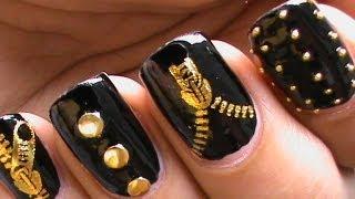 Garage Chic Biker Studded Nails Art Designs Zip Nail