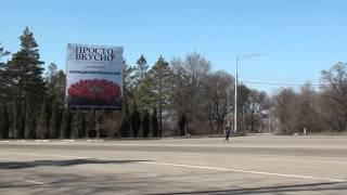 La intrare în Bălți e o reclamă mare, în limba rusă