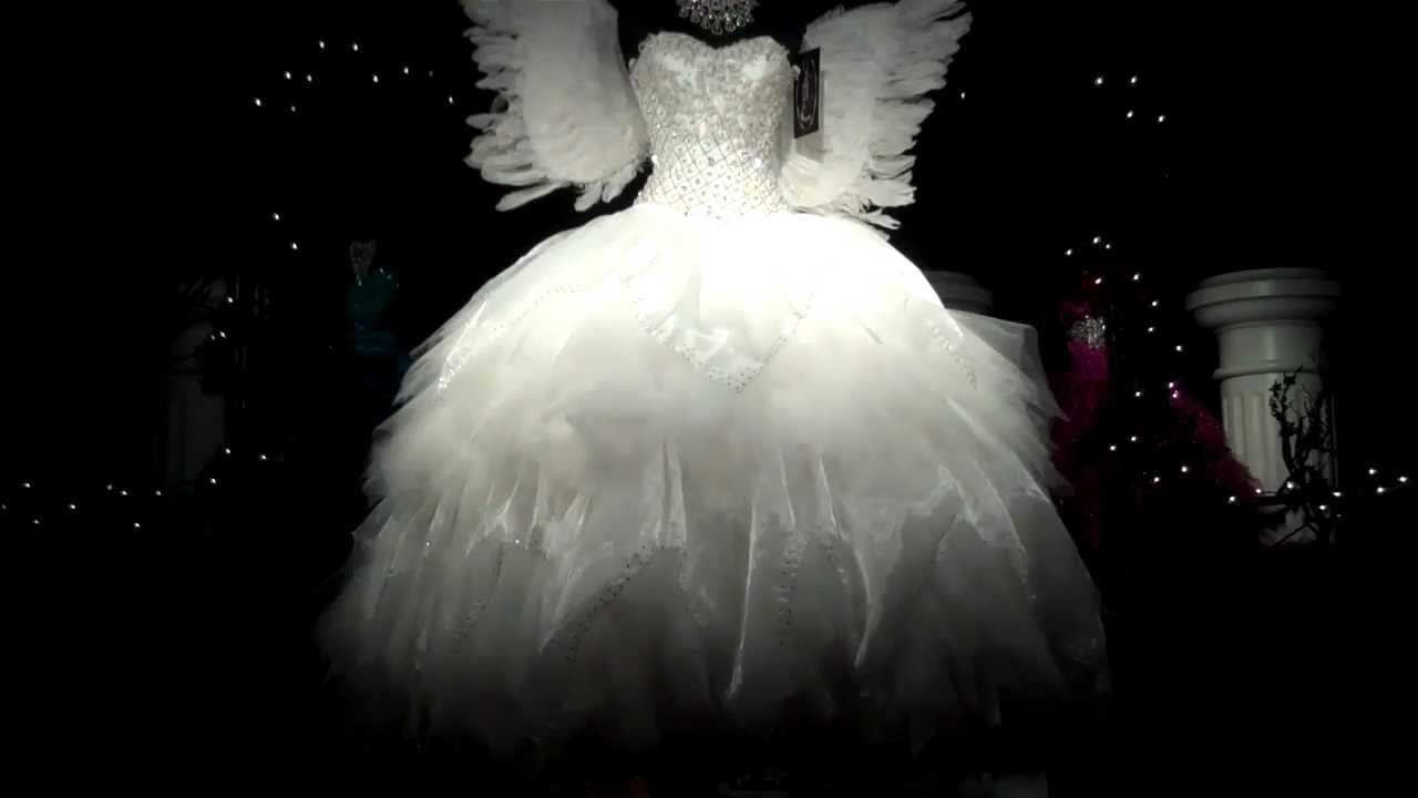 Quinceanera dress traditional white with angel wings wow for Angel wings wedding dress