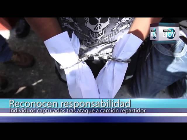 Presuntos pandilleros confiesan ataque a camión repartidor
