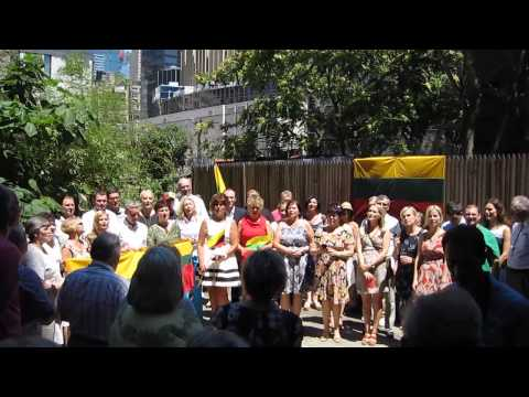 Lietuvos Himnas - Lithanian Anthem sung in NYC 2014-July-6