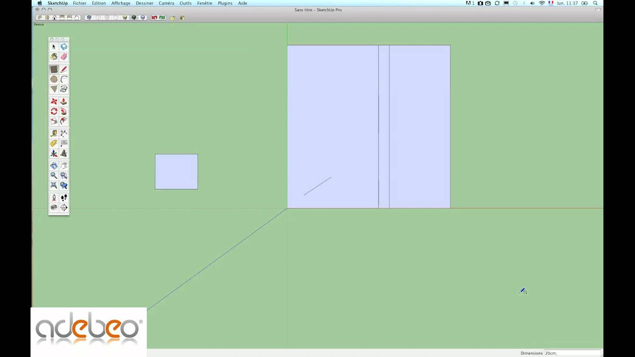 Tutoriel sketchup 3 outil rectangle youtube for Outil miroir sketchup