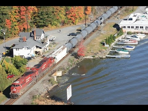 Canadian Pacific ES44AC's lead an ethanol train through Highland New York on the CSX River sub