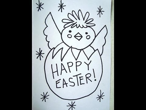 How to draw, EASTER CHICK, Egg, Happy Easter, card, sign
