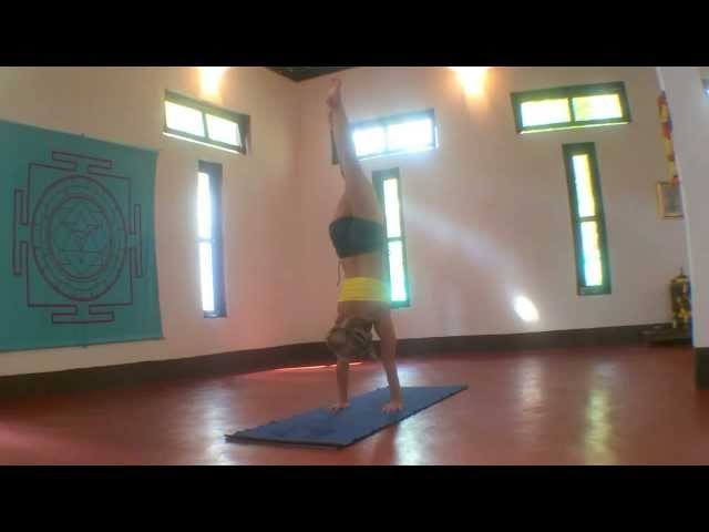 Yoga Handstand Eagle Legs Variation with Kino in Goa