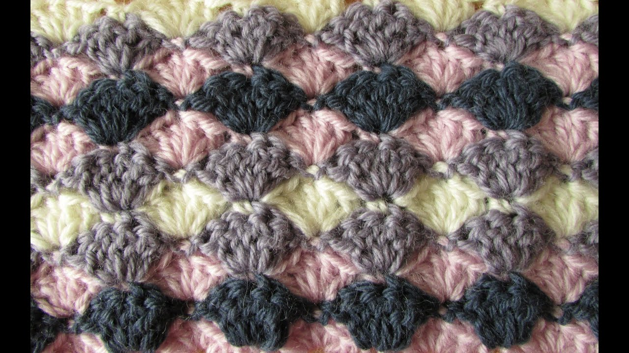 Easy Crochet Stitches Youtube : VERY EASY crochet shell stitch blanket - crochet blanket/afghan for ...