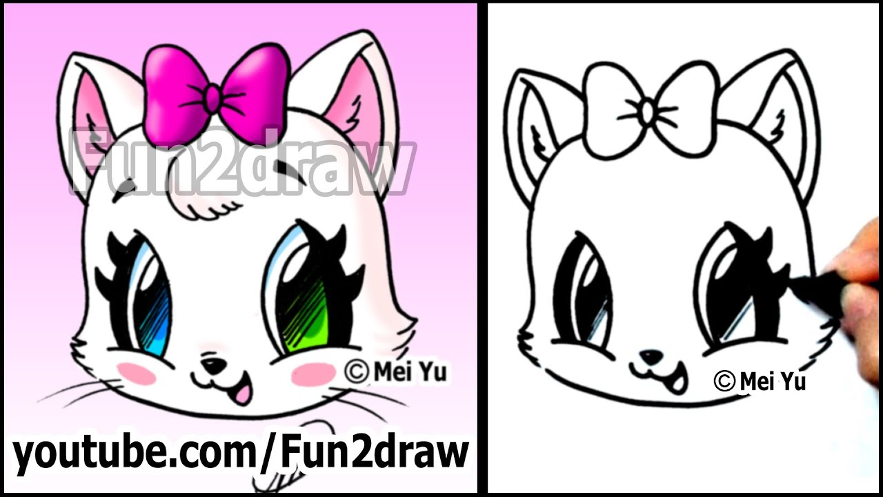 Cute cat how to draw a cat face kitten with bow easy for Fun to draw cute animals