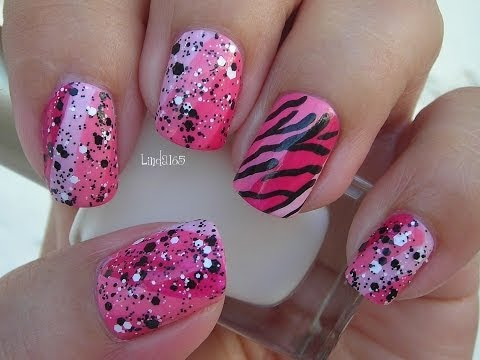 Nail Art - October in Pink - Funky Pink Zebra