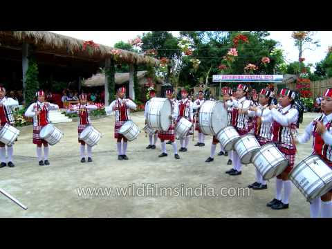 Mizo pipe band in traditional kilts perform at the Anthurium Festival