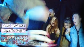 Going Through The Stranger Things Haunted House in VR 180   Madelaine Petsch
