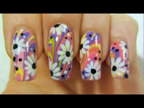 Colorful Hippie Flower Power Design With Water Marbling And Daisies