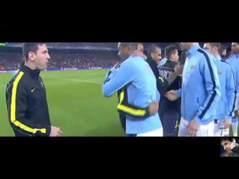 Mess And Daniel Alves hugging yaya toure Barcelona vs Man City - 2nd leg 12-03-2014