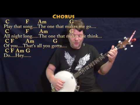 Play That Song (Train) Banjo Cover Lesson in C with Chords/Lyrics