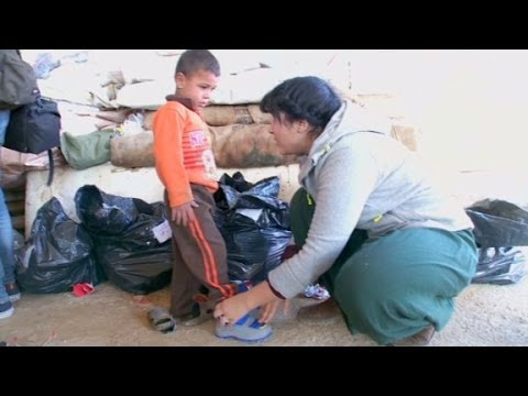 Winter boots for Syrian refugees