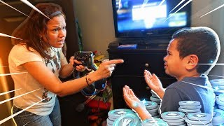 Mom tells 9 year old kid he cant play fortnite ever again...(prank!) *HE RAGED!*