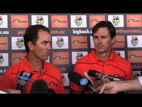 Perth Scorchers Press Conference: Justin Langer & Brad Hogg