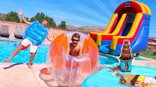 GIANT BUBBLE BALL INFLATABLE SLIDE IN THE POOL FUN SURPRISE PARTY!!
