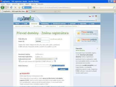 Změna registrátora domény CZ