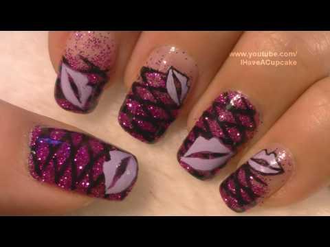 Purple Lips Nail Art Tutorial / Labios Morados Arte para las unas,