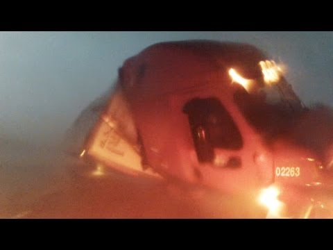 Semi Tractor Trailer Flipped by El Reno EF5 Tornado - Full Version - 31st May 2013