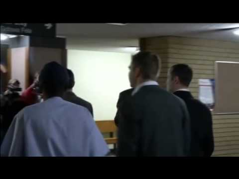 Oscar Pistorius arrives at court as judge hears Reeva Steenkamp autopsy testimony