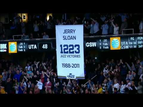 The Utah Jazz Raise a Banner for Jerry Sloan
