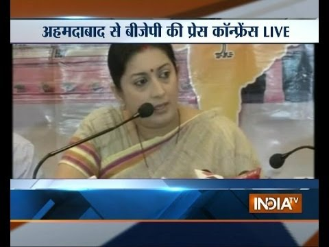 Smriti Irani hits out at Congress in Ahmedabad
