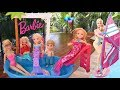 Elsa and Anna toddlers go to Barbie pool party Chelsea Mermaid Party Disney Frozen Toys In Actoin