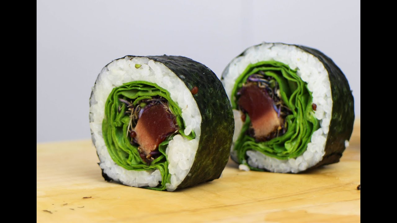 Seared Tuna Sushi Roll Recipe - YouTube