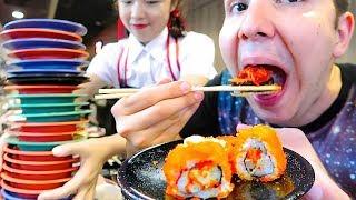 100 Sushi Challenge • Sushi Bar Conveyor Belt Buffet • MUKBANG
