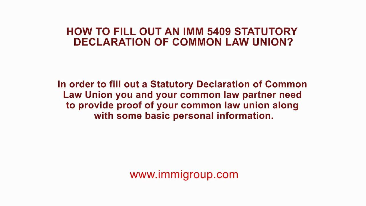 statutory declaration of common law union imm 5409 guide