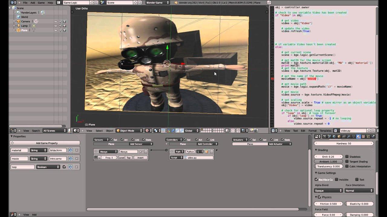 video intro cutscene fernseher blender 3d game engine tutorial youtube. Black Bedroom Furniture Sets. Home Design Ideas