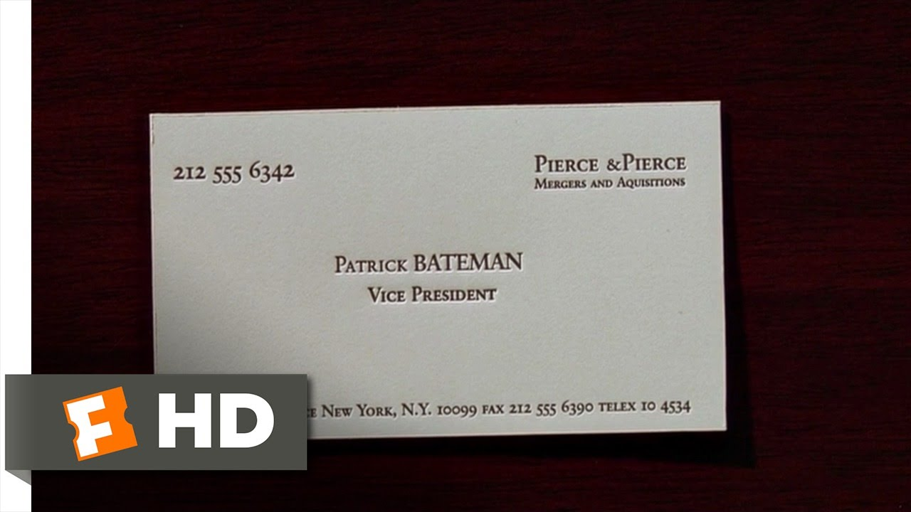 American psycho 2 12 movie clip business cards 2000 for Paul allen business card template