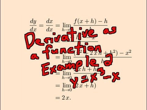 Derivative as a Function Example 2: y = x^3 - x