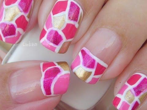 Nail Art October In Pink Pink Mosaic Decoracin De Uas