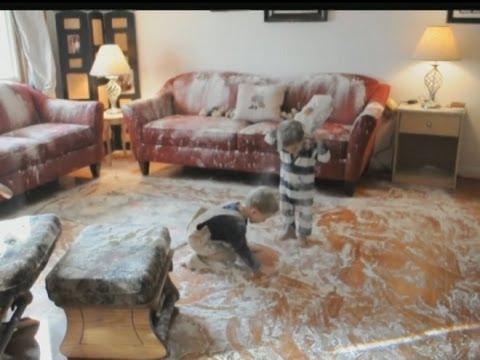Boy spills flour all over livingroom and kitchen!