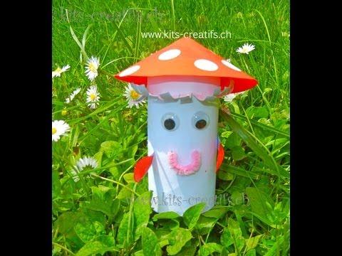 Bricolage enfant champignon avec rouleau de papier - Idee bricolage avec rouleau papier toilette ...