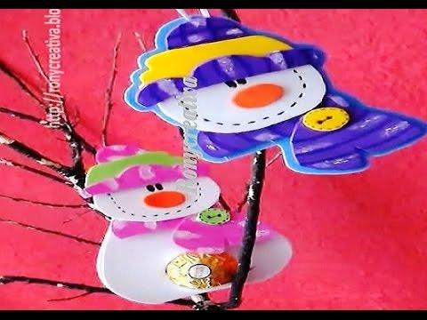 COMO HACER MUÑECOS DE NIEVE EN FOAMY 3 IDEAS EN UNA / FOAMY SNOWMAN DIY