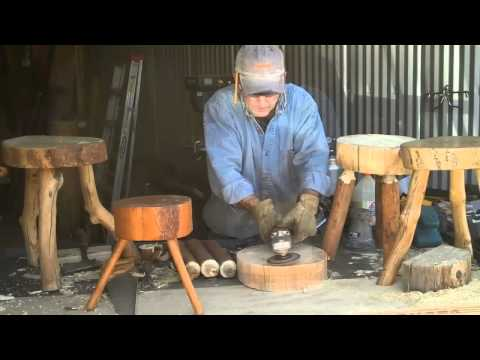 How to Make a Three Legged Log Stool by Mitchell Dillman